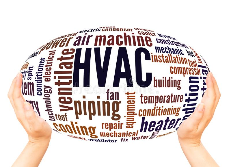 HVAC word cloud hand sphere concept. On white background stock image