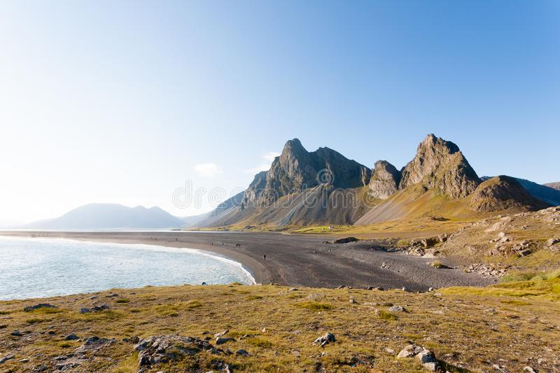 Hvalnes lava beach landscape, east Iceland landmark stock photos