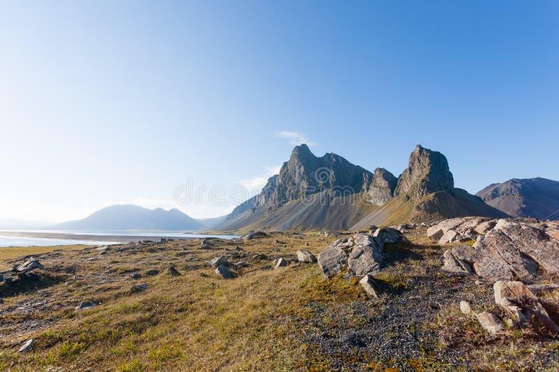 Hvalnes lava beach landscape, east Iceland landmark stock photography