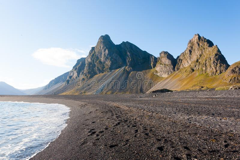 Hvalnes lava beach landscape, east Iceland landmark stock photo