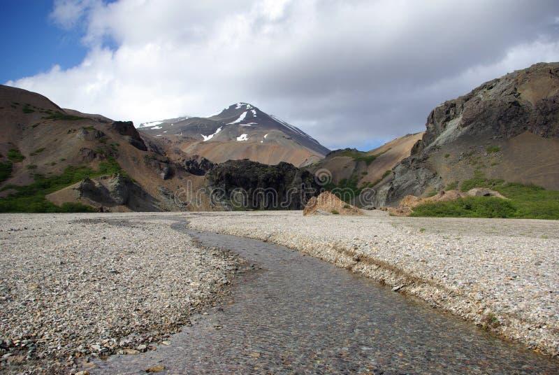 Hvanngil (de canion van de Engelwortel) in het soutoosten van IJsland stock foto