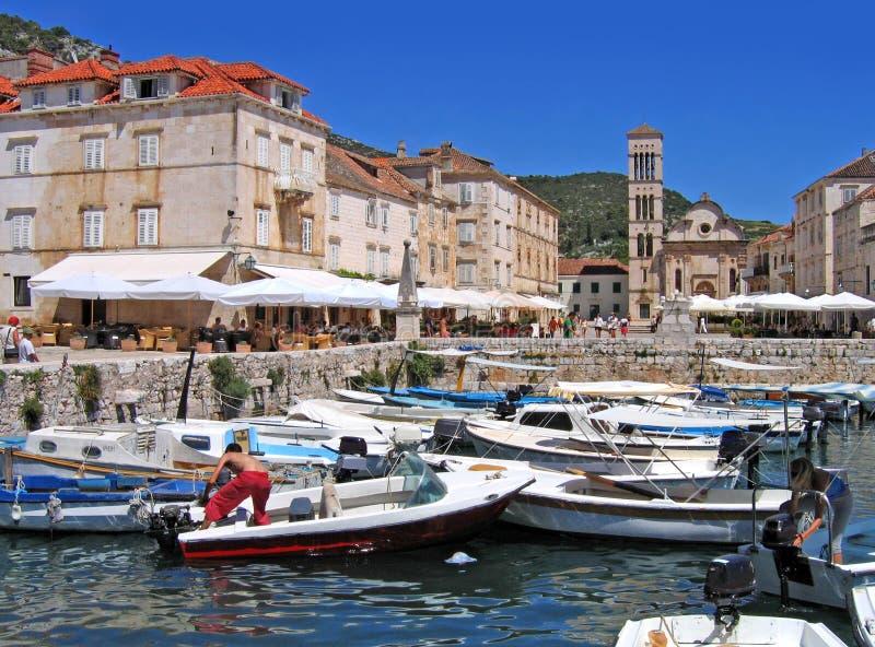 hvar town för croatia hamn arkivbilder