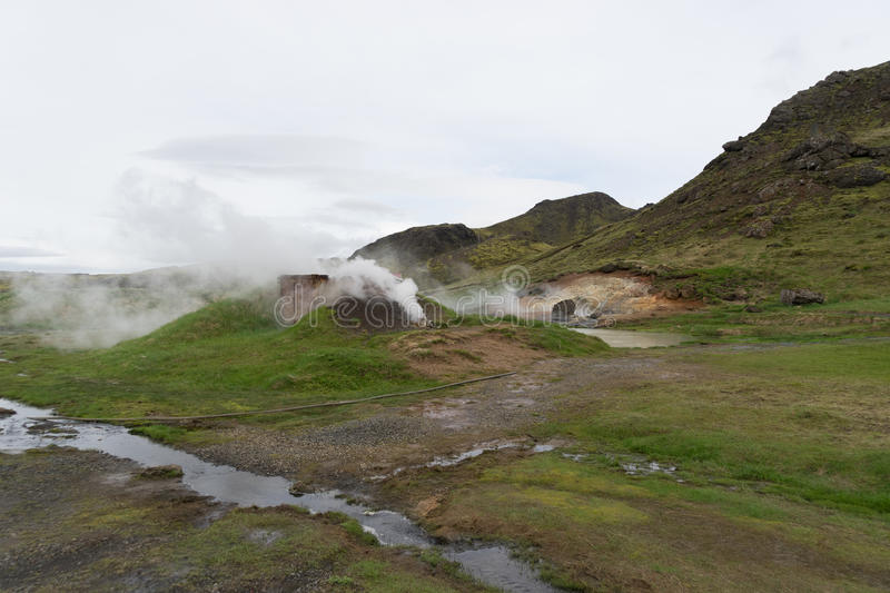Hveradolum geothermal activity stock photos
