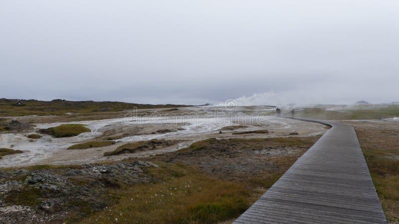 Hveravellir geotermiczny teren na drodze F35, obraz stock
