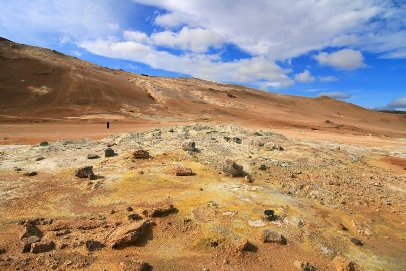Hverir火山的风景 免版税库存照片