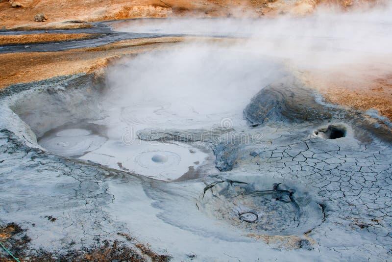 Hverir geotermiczny teren w północy Iceland zdjęcie royalty free