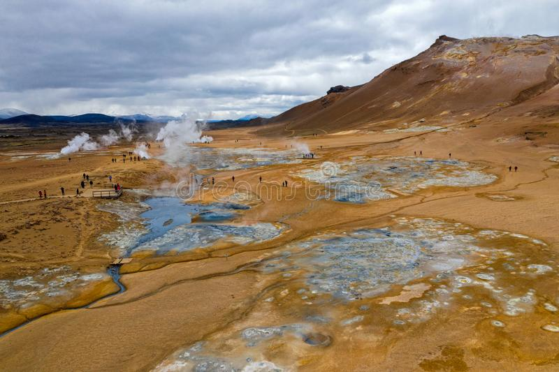 Hverir Geothermisch Gebied, IJsland stock fotografie