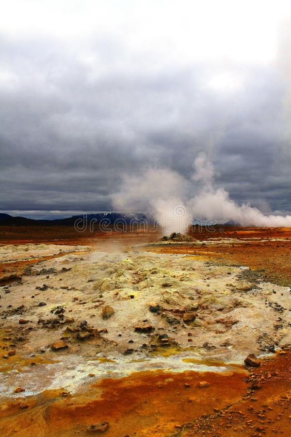 Hverir geothermal park near Myvatn lake, Iceland. Hverir hot springs geothermal park near Myvatn lake, Iceland stock image
