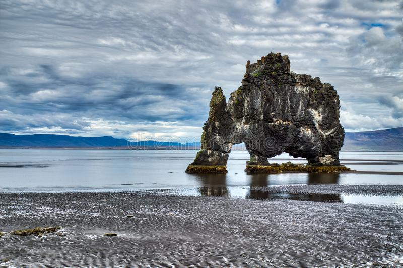 Hvitserkur during Cloudy Day, Iceland. Hvitserkur during Cloudy Day, A Spectacular Rock in the Sea on the Northern Coast of Iceland, Europe stock photography