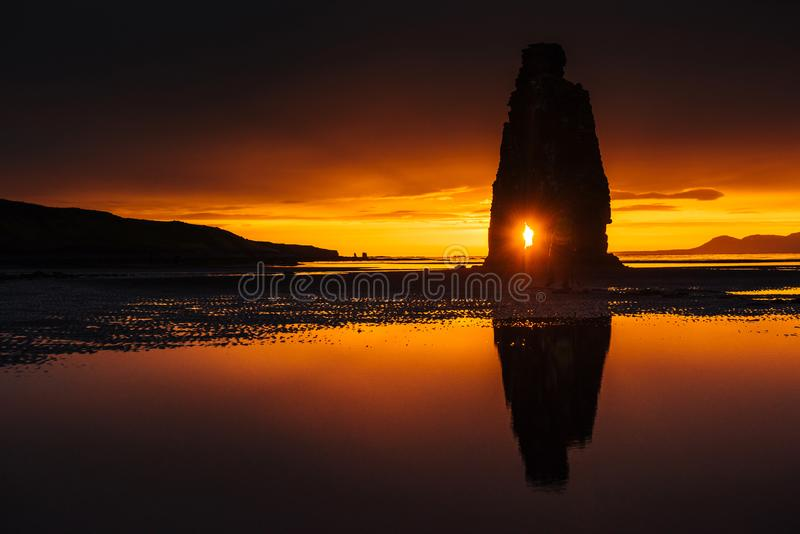 Hvitserkur 15 m height. Is a spectacular rock in the sea on the Northern coast of Iceland. this photo reflects in the water aft stock photo