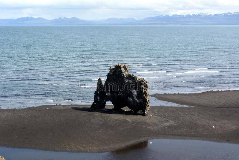 Hvitserkur - roche célèbre en Islande au jour d'été image libre de droits