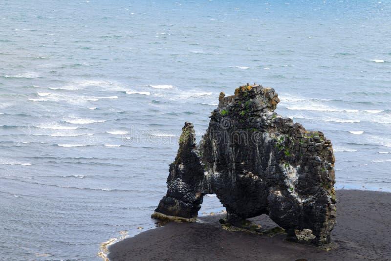 Hvitserkur sea stack, Iceland. Black sand beach. North Iceland landmark, highlands, vatnsnes, area, attraction, basalt, beauty, dragon, famous, geological royalty free stock photography