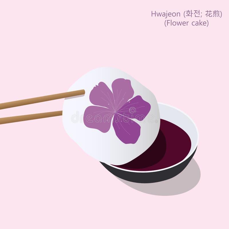 Hwajeon kkot-bukkumi or flower cake, small Korean pan-fried rice cake made out of glutinous rice flour, honey and edible petals vector illustration