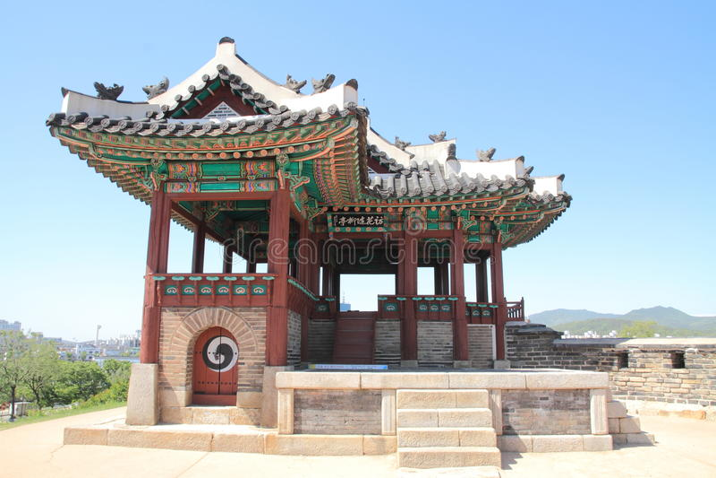 Hwaseong堡垒在水源 库存图片