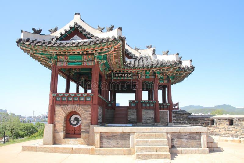 Hwaseong fästning i Suwon arkivbilder