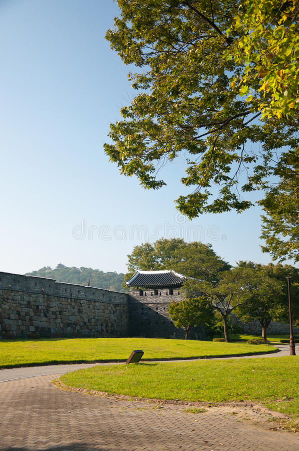 Download Hwaseong Fortress stock image. Image of path, tree, asian - 27053493