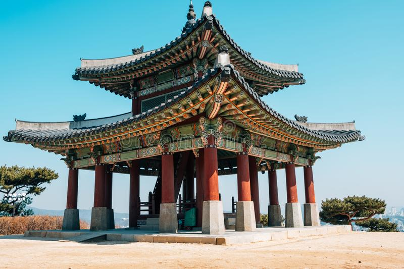Hwaseong Fortress Seojangdae, Korean traditional architecture in Suwon, Korea. Asia stock photography