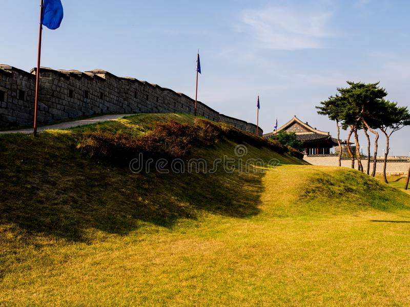 Hwaseong Fortress Seojangdae or Suwon Hwaseong is a fortification surrounding the centre of Suwon. South Korea.  royalty free stock photo
