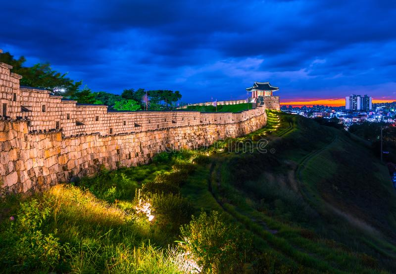 Hwaseong Fortress in Suwon, Hwaseong Fortress is the wall surrounding the center of Suwon.  royalty free stock photo