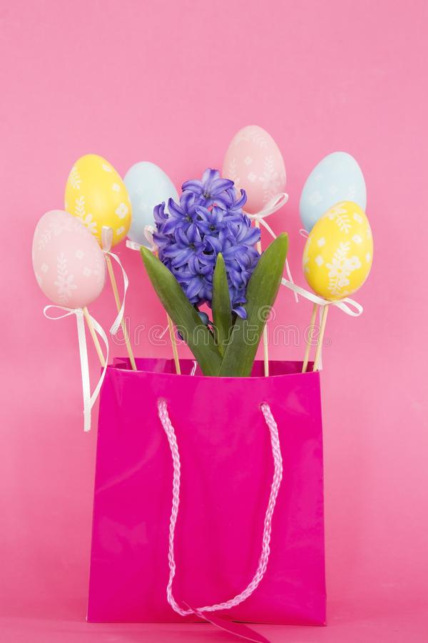 Hyacinth and Easter eggs stock photography