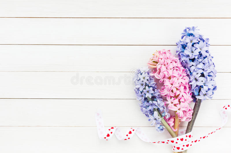 Hyacinths on white wooden table. Valentine Day concept. Top view royalty free stock image