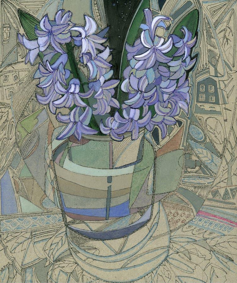 hyacinthusvase stock illustrationer