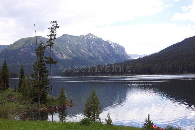 Download Hyalite Resevoir & Mountains Stock Image - Image of canoe, boating: 197999