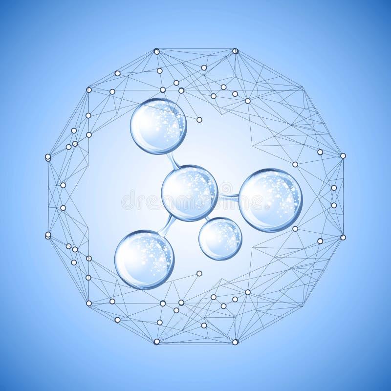 Hyaluronic zuur of abstract moleculesontwerp stock illustratie
