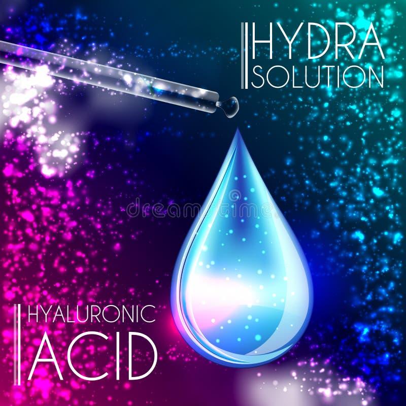 Hyaluronic Zuur de Essentie 3D Druppeltje van het Olieserum stock illustratie