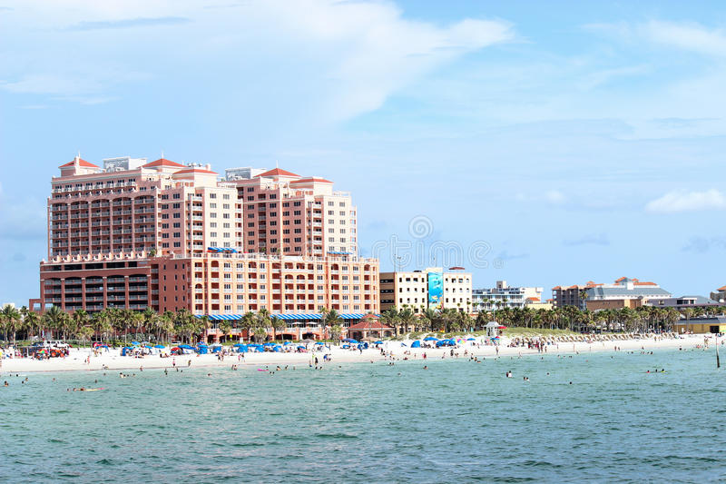 Hyatt Hotel Clearwater Beach. The Hyatt Hotel on Clearwater Beach, Florida towers above other hotels on the Gulf of Mexico royalty free stock images