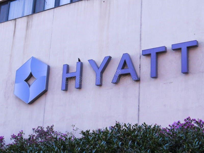 New Jersey November 2018 Hyatt Regency Hotel Sign On A Building royalty free stock photography