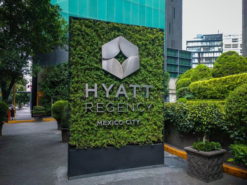 Hyatt Regency Mexico City entrance sign. Main streets in Mexico. Travel stock photography