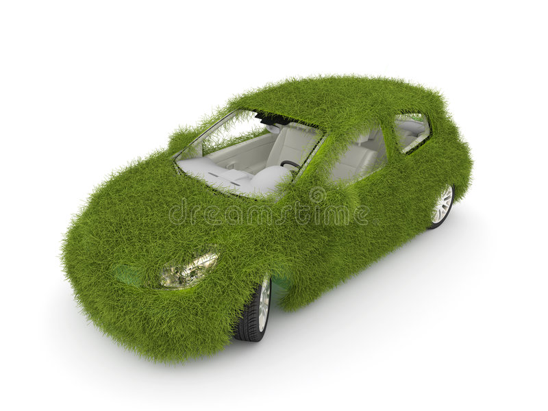 Hybrid auto. Ecology car. Green grass car. 3d Ecological friendly auto decorated with green grass stock illustration