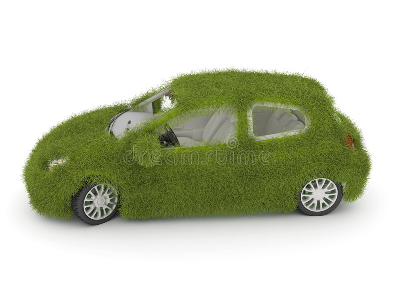 Hybrid auto. Ecology car. Green grass car. 3d Ecological friendly auto decorated with green grass vector illustration