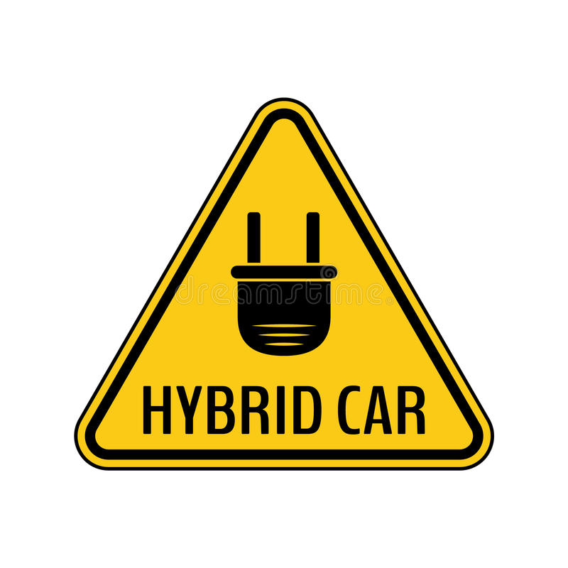 Hybrid car caution sticker. Save energy automobile warning sign. Electric plug icon in yellow and black triangle. stock illustration