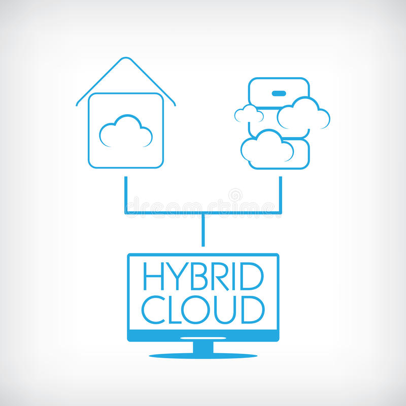 Hybrid cloud computing technology concept with. Private and public data storage. Eps10 vector illustration stock illustration