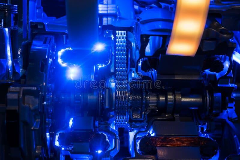 hybrid- motor för bil med den ljusa illustrationen royaltyfri foto