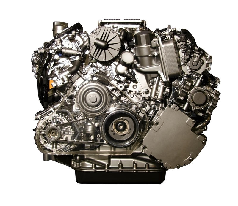 Hybrid car engine from Mercedes stock photo