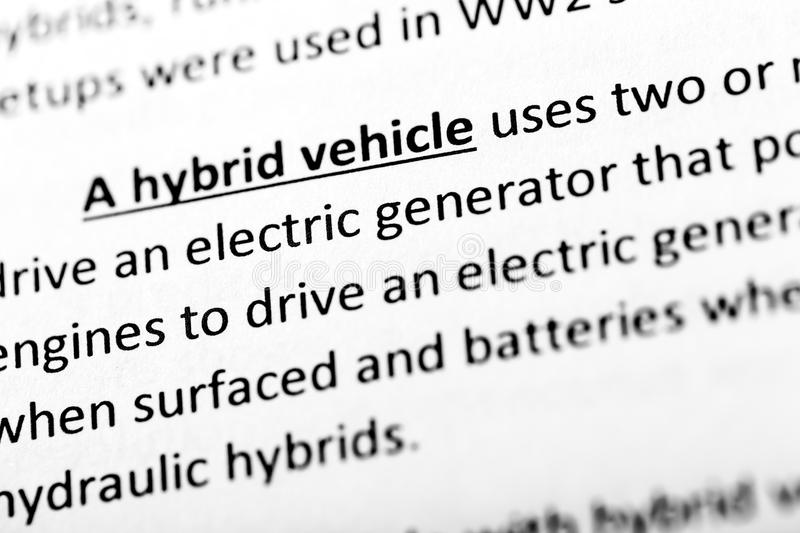 A hybrid vehicle explanation or description in dictionary or article. A hybrid vehicle explanation or description in dictionary or article royalty free stock images