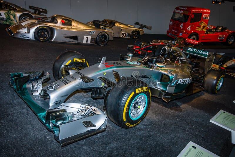 Hybride de Mercedes F1 W01 de voiture de course de Formule 1, 2014 photographie stock