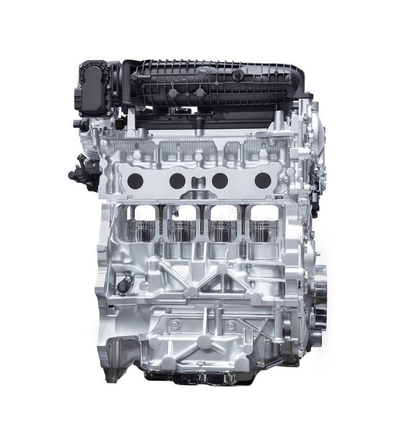 Hybride die motor van een auto op wit met het knippen van weg wordt geïsoleerd stock foto