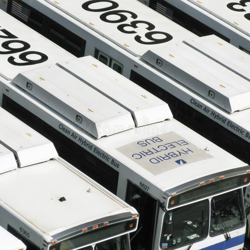 Hybride elektrische busvloot stock foto's