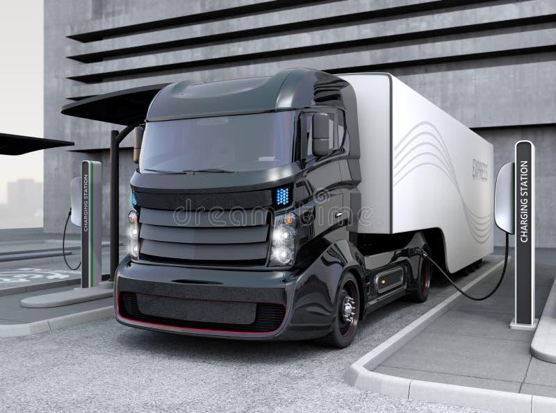 Hybride elektrische vrachtwagen die ladend bij het laden post zijn vector illustratie