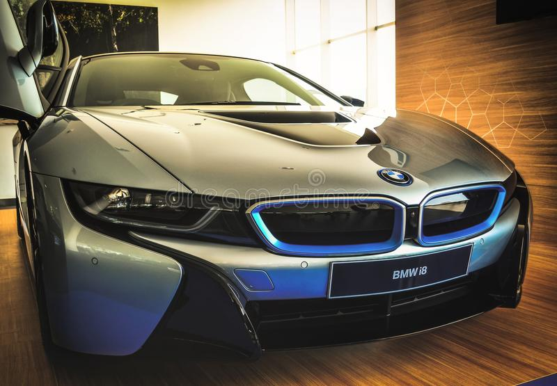 Hybridelektroauto BMWs I8 stockbilder