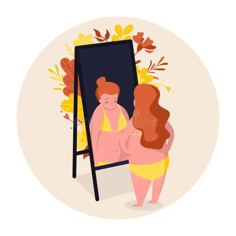 hyckleri Flickan verkar gladlynt och säker, men faktiskt är hon ledsen Hon ser reflexionen i spegeln Kropppos. stock illustrationer