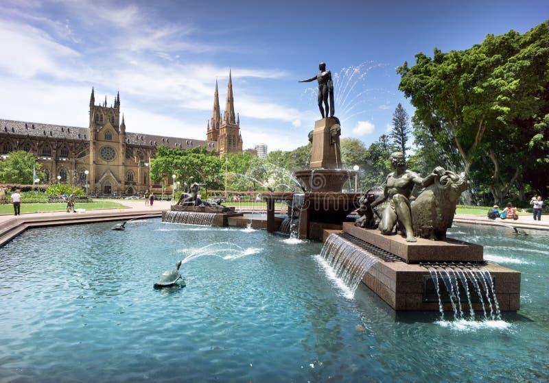 Hyde Park & catedral, Sydney, Austrália imagem de stock