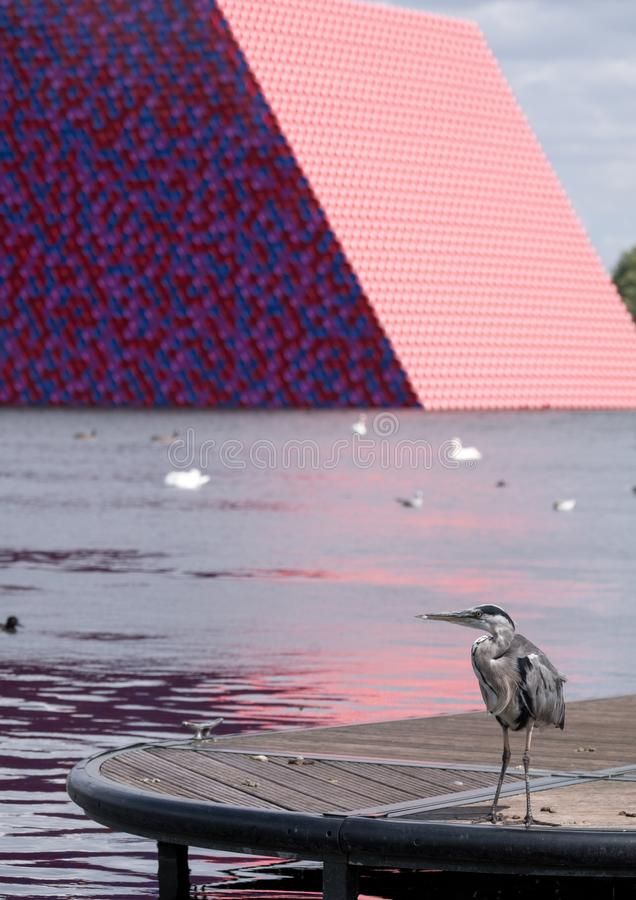 Mastaba art installation by Christo, floating on the Serpentine Lake in Hyde Park, with heron bird in the foreground. Hyde Park, London UK. July 2018. Mastaba stock photography