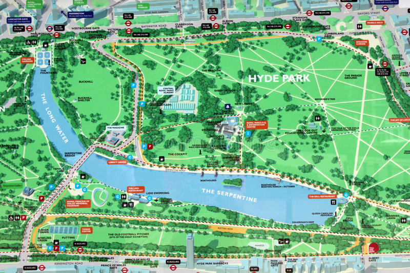 Hyde Park map sign. Detail of one the big map in the Hyde Park, London, with the main lake, gardens, tube stations, bus stop and paths stock photos