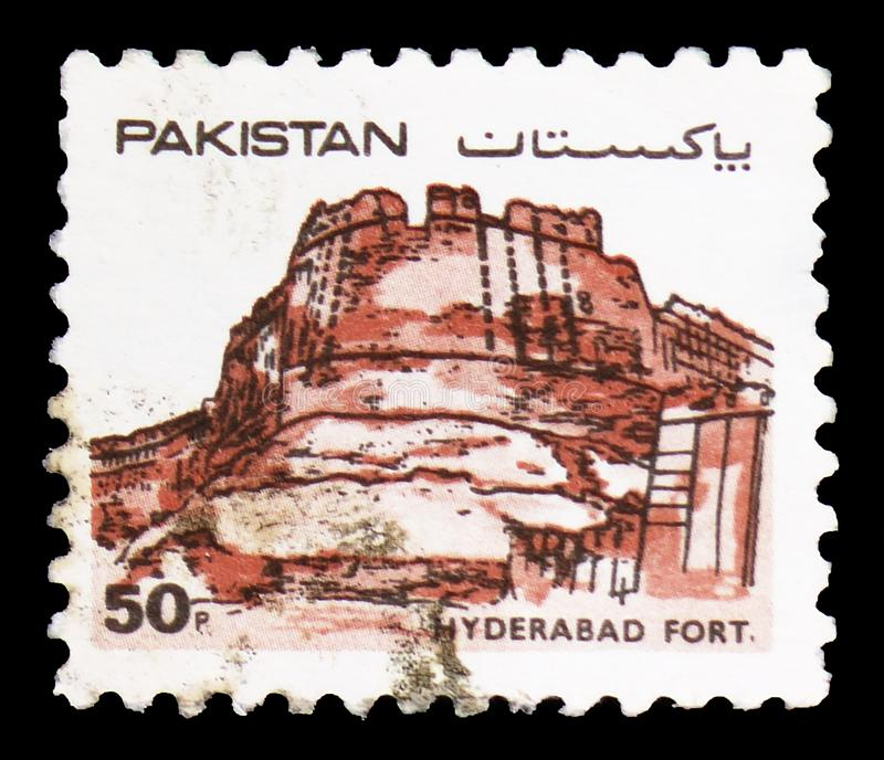 Hyderabad Fort, Forts of Pakistan serie, circa 1986. MOSCOW, RUSSIA - FEBRUARY 22, 2019: A stamp printed in Pakistan shows Hyderabad Fort, Forts of Pakistan stock photography