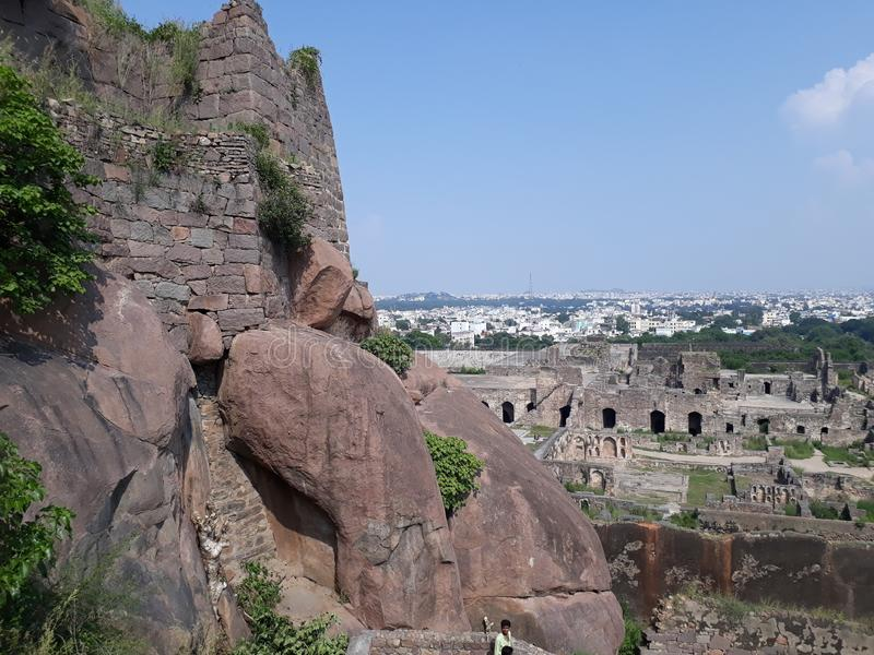 Hyderabad golconda fort, india lizenzfreies stockfoto
